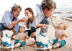 One of my all time favs!  Baby Boy Beach Cake Smash-Orange County Newport Beach, Babies, Toddlers, Children, kids, Baby Outfits, what to wear, shades of blue, colored eyes, cute babies, giant cupcake, cakes, cake smash, great dane bakery, seashells, waves, rocks, whale, baby board shorts, smiling and laughing baby, chubby cute, adorable, family cake smash, husband and wife team photographers, Orange county, the beach, GilmoreStudios.com