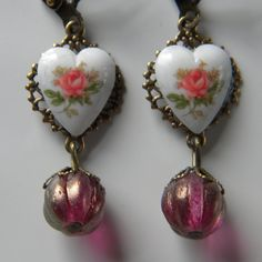 Pink Rose Heart Earring White Heart with Rose Cameo and Czech Melon Bead Dangle Cottage Chic Heart Dangle