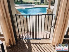 Beautiful outside child safety gate for deck leading to pool in Franklin, TN. Layers of protection are advised for pool safety. Other protective measures would include extra locks for all exterior doors and a pool fence which surrounds the entire pool.