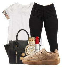 """""""Untitled #387"""" by kenziesg ❤ liked on Polyvore featuring Burberry, Yoki, Michael Kors, Puma and Karen Kane"""