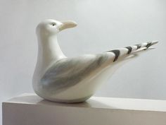 Ceramic Turned Sea Gull Sculpture, Large