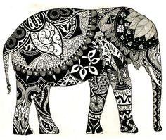 Elephant art henna ink drawing