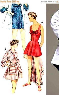 Sale 15% off Simplicity Pattern #8139 Misses' 1950s Retro Beachwear, Size R5 14-22, UNCUT- Factory Folded Dress Sewing Patterns, Vintage Sewing Patterns, Suit Pattern, 1940s Dresses, Simplicity Patterns, Blouse Dress, Vintage Skirt, Bathing, Beachwear