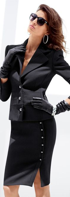 Sexy black pencil skirt and jacket .. awesomeness