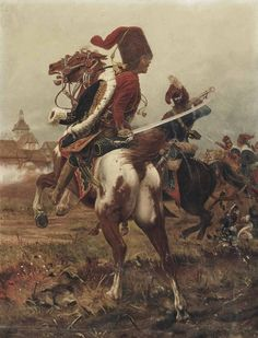 Historical Event Prussian Hussars charging during the Seven Years War. Treaty Of Paris, Frederick The Great, Seven Years' War, German Uniforms, French Colonial, American Revolutionary War, Napoleonic Wars, Prussia, Military Art