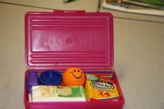 Calm Down Box. Bubbles to take deep breaths, playdough or stress ball to squeeze, notepad to write/scribe feelings, tissue for tears, rubbing stone, emotion cards to help those who are having a hard time to articulate how they feel