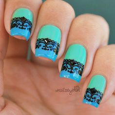 Half Mint/Blue With Lace Stamp nail art by xNailsByMiri