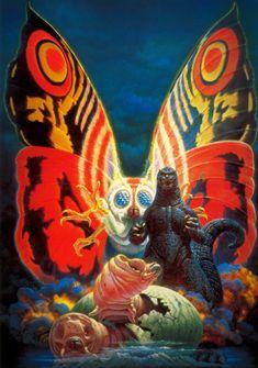 Godzilla vs. Mothra poster art...Beautiful