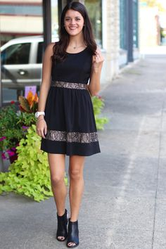 Turns to Gold Dress {Black} - The Fair Lady Boutique - 1