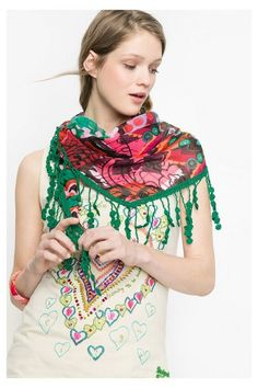 Desigual Ethnic print triangular scarf. Discover the new arrivals in our accessories collection!