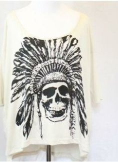 #Three-QuarterSleeve #Skull #Print #Top #Gothic #Casual #Bold #Style #UsTrendy