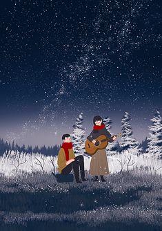 Love Illustration, Winter Illustration, Anime Art, Ilustration Art, Art Drawings, Fantasy Art, Art, Pretty Art, Art Wallpaper