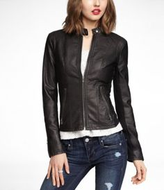 Fitted faux-leather moto jacket from Express Faux Leather Jackets 93e09a4ca8d