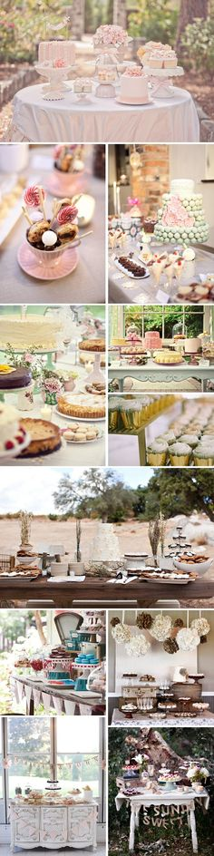 Love these beautiful cake and dessert tables!
