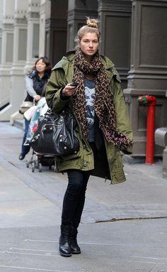 Leopard print scarf + khaki + black