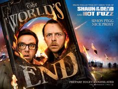 Simon Pegg and Nick Frost in the British Quad poster for Edgar Wrights THE WORLDS END