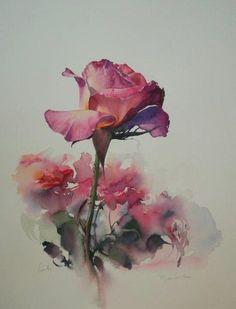 rose, watercolor by Jean Claude Papeix Art Aquarelle, Watercolour Painting, Watercolor Flowers, Painting & Drawing, Watercolours, Art Floral, Botanical Art, Art Techniques, Painting Inspiration