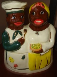 Gold trim African American Cook and maid cookie by jazzejunqueinc, $295.00/www.jazzejunque.com