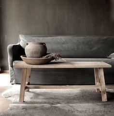 Salontafel van oud hout | AURA PEEPERKORN INTERIEUR | www.aurapeeperkorn.nl