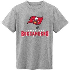 NFL Tampa Bay Buccaneers Youth Short Sleeve Grey Tee, Boy's, Size: Small, Gray