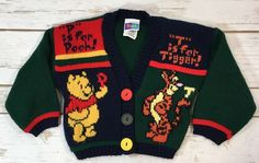 Vintage 90s Disney Winnie the Pooh Tigger Acrylic Cardigan Sweater Baby 18M  | eBay