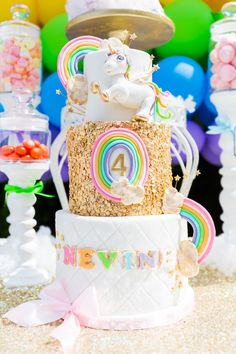 3-tiered golden rainbow birthday cake from Gold Rainbow Unicorn Birthday Party at Kara's Party Ideas. See the sparkly details at karaspartyideas.com!