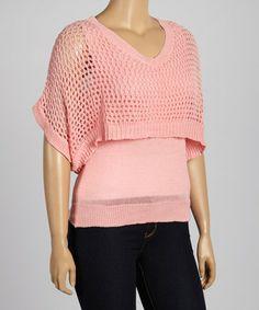 Look at this #zulilyfind! Peach Crocheted Layered Top - Plus #zulilyfinds
