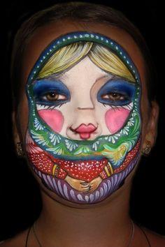 Facepainting Babushka Russian Matreshka by Athena Zhe. Very cool