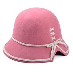 ZLYC Women's High Quality Lady Fashion 100% Wool Cloche Bucket Bowler Winter Hat with Bowknot Flower (Pink1) ZLYC http://www.amazon.co.uk/dp/B00MRNPP3A/ref=cm_sw_r_pi_dp_SeY7tb1840B4B