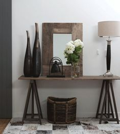 Styled Front Entry With Console Table, Basket, Lamp And Mirror. Home Decor  Inspo.