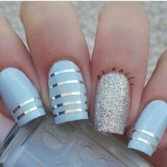 Blue Silver Striped Nails nails nail art nail ideas nail designs nail pictures