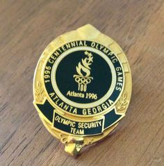 Olympic Security Team Black Mini Badge Atlanta 1996 Olympic Security Pin Atlanta Georgia, Olympic Games, Lapel Pins, Olympics, Patches, Punisher, Badges, Mini, Police