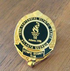 Olympic Security Team Black Mini Badge Atlanta 1996 Olympic Security Pin