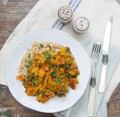 Sweet Potato, Lentil and Coconut Curry- use squash and serve over cauliflower rice