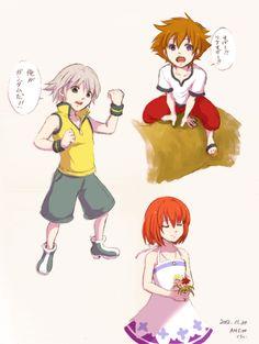 Sora, Riku, Kairi as kids