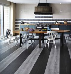 Open Plan Kitchen And Dining Room Area #stripes #vinyl #modern Styled By  Diana · Vinyl FlooringFlooring IdeasVinyl ...