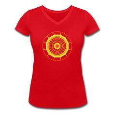 """Frauen-Shirt mit V-Ausschnitt und Mandala mit Sonne in der Mitte und """"Strahlen"""" außenherum."""