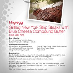 Make your New York Strip #Steaks mouth-watering by adding Blue Cheese Compound Butter to your recipe#FoodieFriday