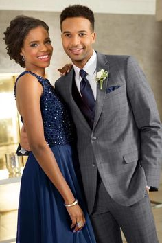 Prom season shopping is here! We've compiled some awesome tuxedos and suits for you to wear to prom this year. Grey Prom Tux, Blue Tux, Navy Blue, Navy Prom Dresses, Prom Outfits, Quinceanera Dresses, Wedding Dress Shopping, Bridal Wedding Dresses, Wedding Suits