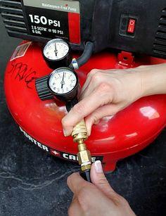 hooking up the hose - compressor and stapler