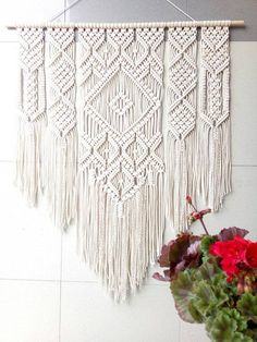 Large Macrame Wall Tapestry Wall Hanging Macrame Wall Art Macrame Patterns Macrame Headboard Home Decor Tapestry Boho Große Makramee Wandteppich Wandbehang Makramee Wandkunst Makramee Muster Makramee Kopfteil Home Macrame Wall Hanging Patterns, Macrame Wall Hanging Diy, Macrame Curtain, Macrame Art, Macrame Projects, Tapestry Wall Hanging, Macrame Wall Hangings, Free Macrame Patterns, Macrame Design