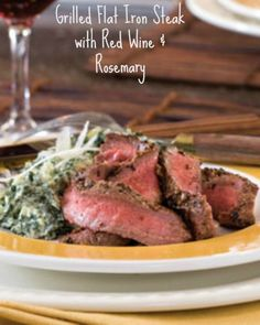 Grilled Flat Iron Steak with Red Wine & Rosemary Recipe |