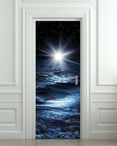 """Door STICKER sea night water mural decole film self-adhesive poster 30""""x79""""(77x200 cm) - Pulaton stickers and posters  - 1"""