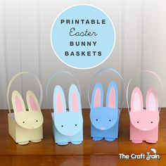Free printable bunny baskets in pastels for Easter