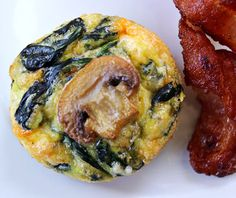 Egg Cups with Mushrooms, Spinach, and Cheese are the perfect high-protein meal or snack to have on hand in the fridge. | Culinary Hill