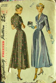 Vintage 40's Simplicity 2722 Pattern - ELEGANT Ladies Dress with Cluster of Soft…