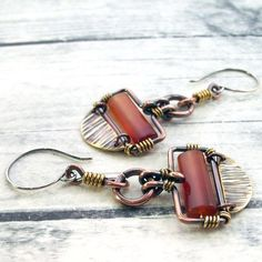 Mixed Metal Handmade Jewelry Earrings Cold by IntuitiveGlass