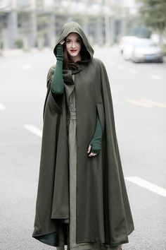 maxi hooded wool coat cloak, maxi cashmere cape, hooded cape, wool hooded cloak in green, black, grey, long wool jacket, coat dress, winter