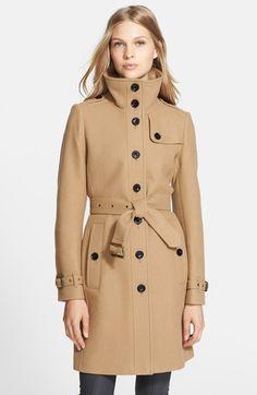 Burberry Brit 'Rushfield' Wool Blend Stand Collar Coat