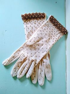 vintage gloves, 1950's gloves, vintage beaded gloves, cream gloves, stage prop, theater prop, 1950's clothing, dress up, 1950 accessories. Theatre Props, Theater, Vintage Gloves, Vintage Items, Bridal Accessories, Fashion Accessories, 1950s Outfits, Pearl Studs, Teatro